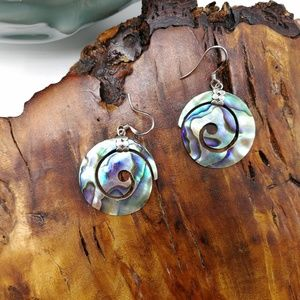 🌵 Vintage 925 sterling silver abalone shell swirl
